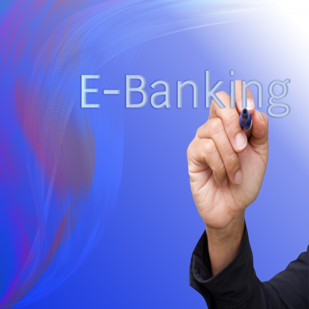 business  hand writing   E-Banking on abstract lines background photo