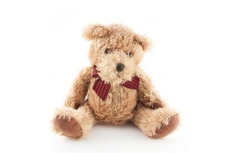 love toys: Fluffy teddy bear isolated on white Stock Photo