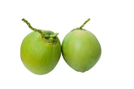 Vert noix de coco fruits isol� sur blanc Banque d'images