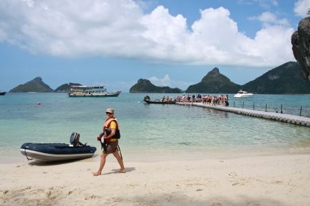Ko samui,Thailand- April 15, Unidentified tourists have an activity at Angthong National Marine Park, Suratthani province, Thailand April 15,2011