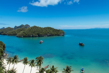 Landscape Bird Eye View of Angthong National Marine Park, Ko samui,Thailand photo