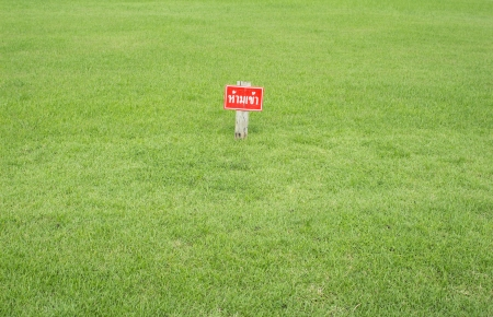 thai language: Signs no entry in Thai language on green grass