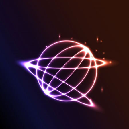 Abstract  space background with planet and shining star photo