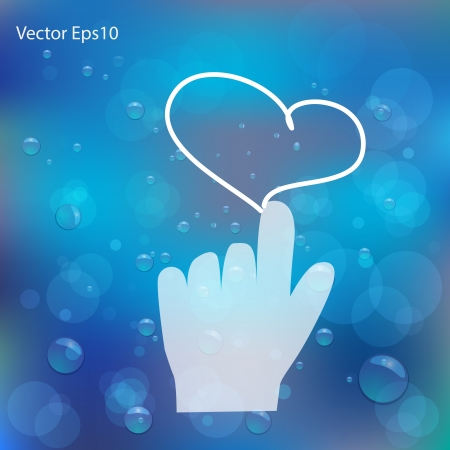 Heart drawn on water bubbles and bokeh blue background,Vector eps10 Stock Vector - 17011667