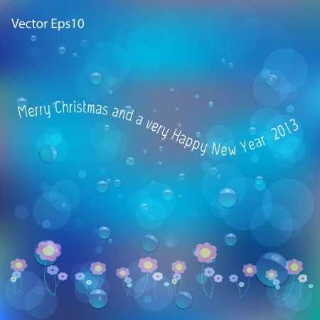 New Year card on water bubbles and bokeh blue background,Vector eps10 Stock Vector - 17011650