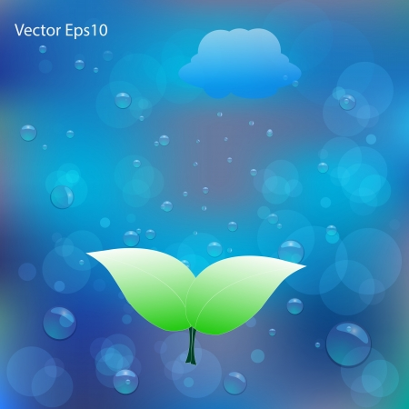 sediment: Green leaf on water bubbles and bokeh gradient blue background Illustration