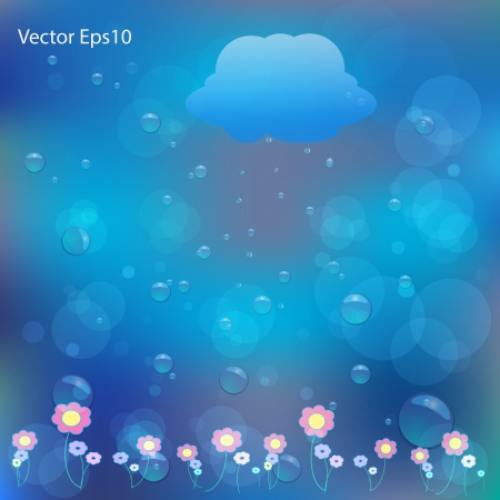 flowers drawn water bubbles and bokeh blue background Stock Vector - 17011675