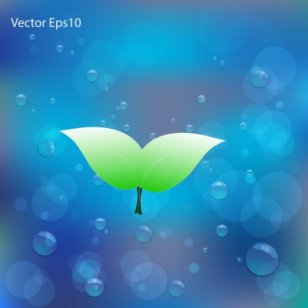 dampness: Green leaf on water bubbles and bokeh gradient blue background Illustration