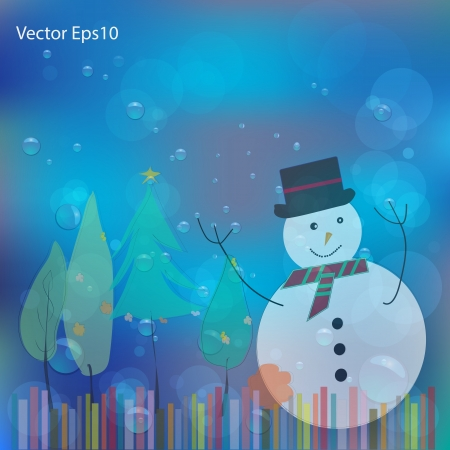 Christmas card drawn on water bubbles and bokeh blue background,Vector eps10 Stock Vector - 17011652