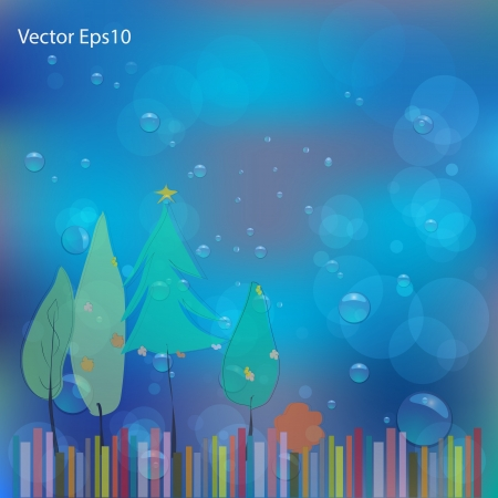 dampness: New year card drawn on water bubbles and bokeh blue background,Vector eps10