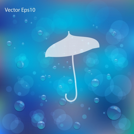 Umbrella drawn Christmas card drawn on water bubbles and bokeh blue background,Vector eps10 Stock Vector - 17011671