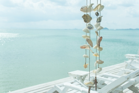 Shell mobile on resort over ocean in Thailand photo