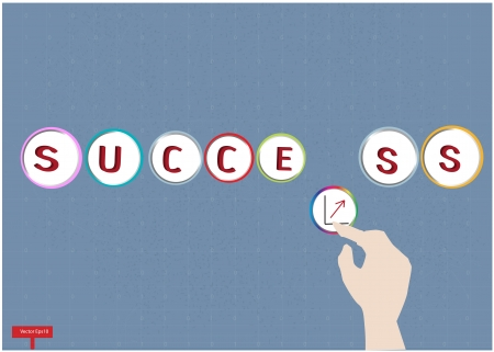 Business hand and word success with world map background,Vector Stock Vector - 17050401