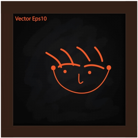 felling: hand drawn happy face on grunge black board and wooden brown frame background Illustration