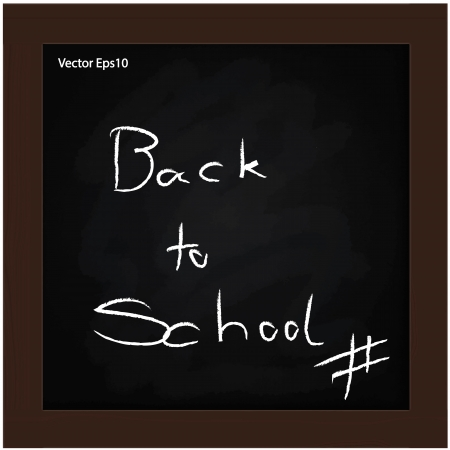 back to school text on grunge black board with a wooden brown frame Stock Vector - 17119555