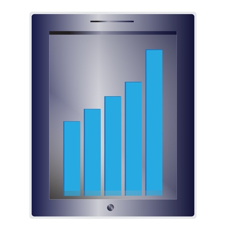 Tablet screen with graph bar  Vector Stock Vector - 17189848