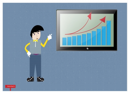 Business man show a chart on tablet computer Vector