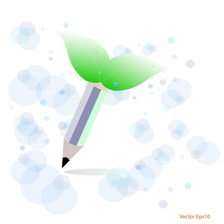 Green,eco concept with pencil drawn,Vector Stock Vector - 17189845