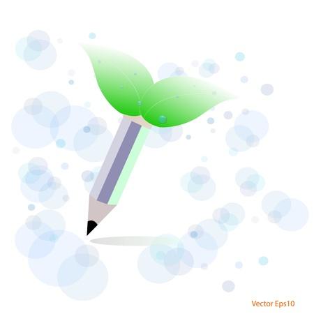 Green,eco concept with pencil drawn,Vector Stock Vector - 17189845