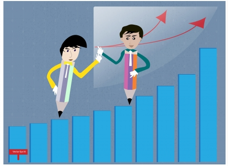 Business  teamwork pencilman to successful Vector
