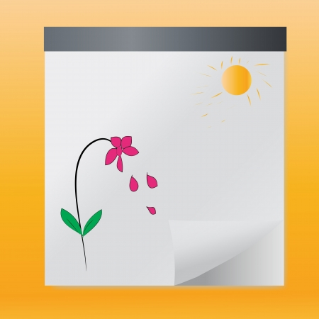 Hand drawn flower and sun in summer,vector  Vector