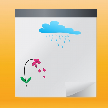 Hand drawn flowers cloud and sun in summer,vector  Stock Vector - 17189863