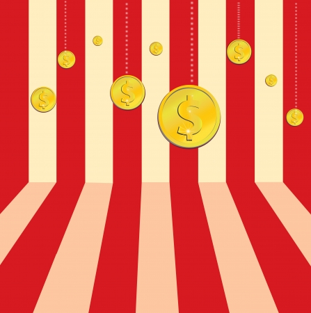 9 winner gold dollar icon on stripe background Vector