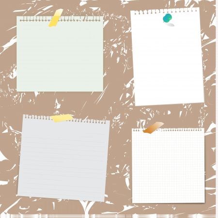 grune: Set of paper designs and notepad on grunge background.