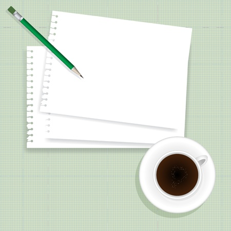 eart: coffee cup,paper note and pencil