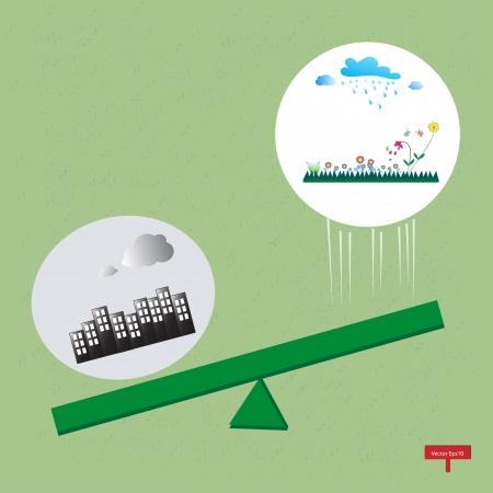 green life vs  pollution,Ecology concept Stock Vector - 17562954