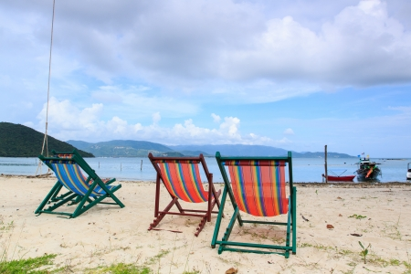 Beach chair on Samui island,thailand photo