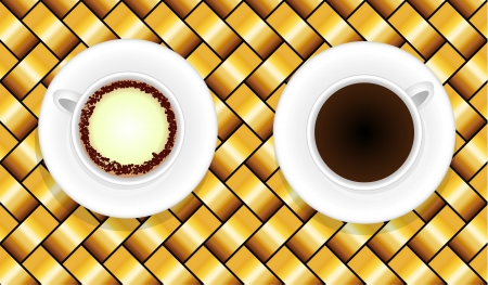 Two white coffee cups on yellow background Vector