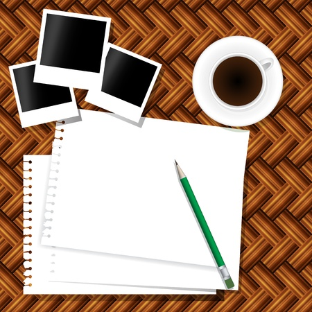 coffee,photo frame,note and pencil Vector