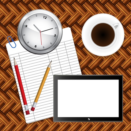 notebook, coffee and office supplies. Business theme Vector