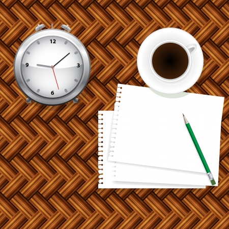 coffee,notepad and clock. Take a break concept Stock Vector - 17638306