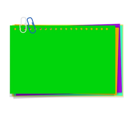 vector green paper notes with  paperclip  Vector