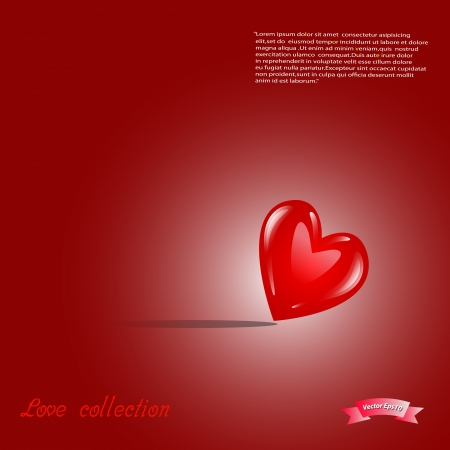 modernffection: Red shiny heart vector illustration ,love collection