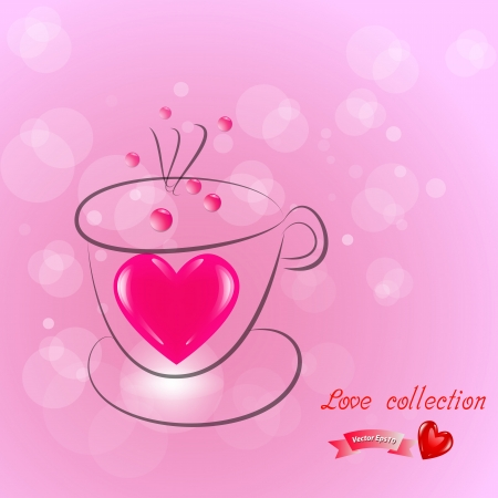 sediment: Coffee cup heart bokeh on gradient pink background,Vector eps10