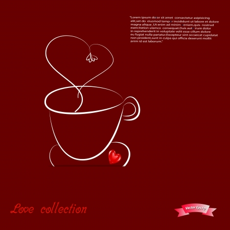 Coffee cup on red heart backgroundVector eps10 Love collection  Vector