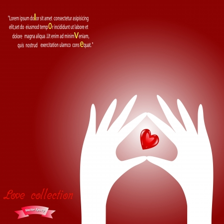 Hand and red shiny heart paper design,Vector eps10 Love collection  Vector