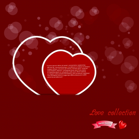 Red paper hearts Valentines day card on blurred bokeh  background Vector