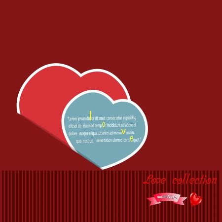 Red paper hearts Valentines day card on pink  background,Vector eps10 Love collection  Vector