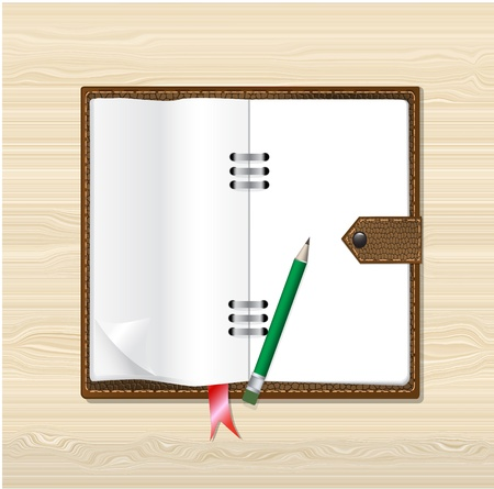 Memo paper, with brown leather notebook on wood background, Vector eps10 Illustration