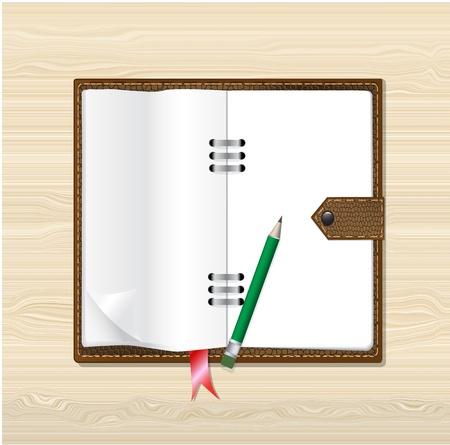 Papier pour notes, avec un ordinateur portable en cuir marron sur fond de bois, vecteur eps10 Illustration