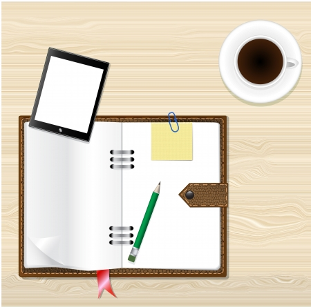 Notebook, coffee and office supplies. Business theme,Vector design Vector