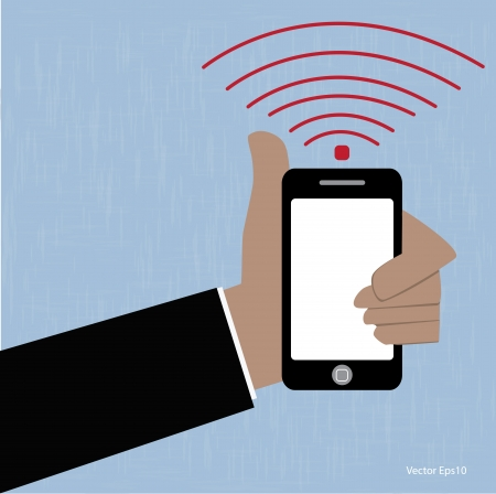 Business hand holding smartphone Vector Eps10 Vector