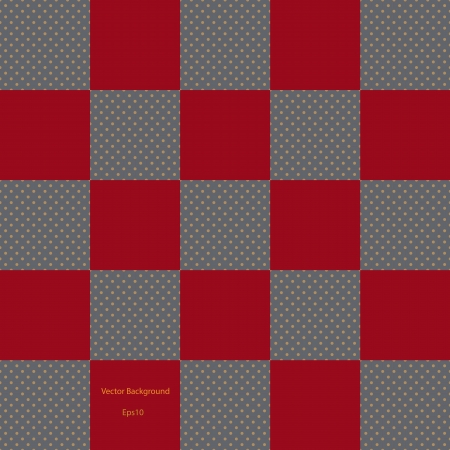 Red checkered pattern with brown dott background vector EPS 10 Vector