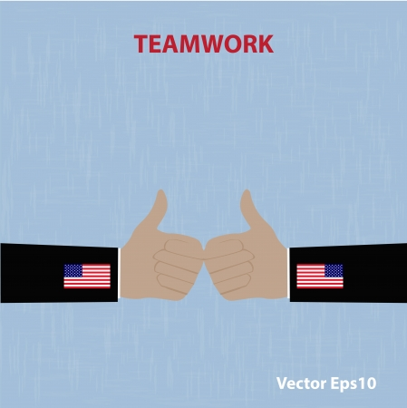 Teamwork concept USA Like Thumbs Up  vector Eps10 illustration Stock Vector - 18216706