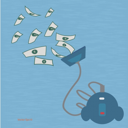 owe: vaccum cleaner sucking dollar vector design Illustration