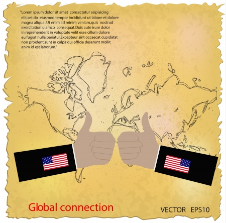 USA like thumbs up symbol on grunge map background  Vector